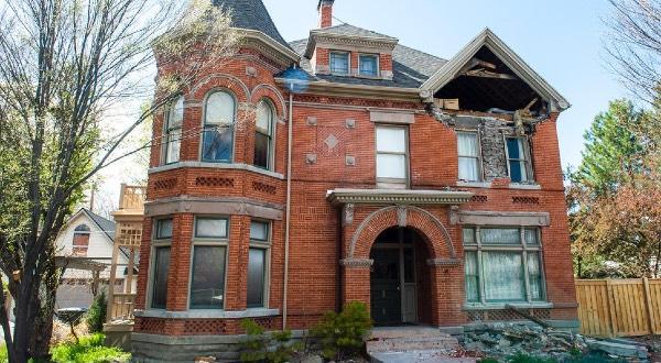 The damaged Sears Mansion in Salt Lake.