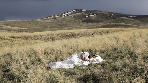 A woman lying in a grass field covered by a white sheet